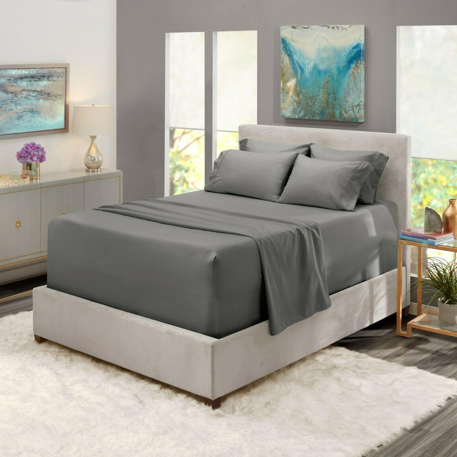 6 piece 1800 count bed sheet set