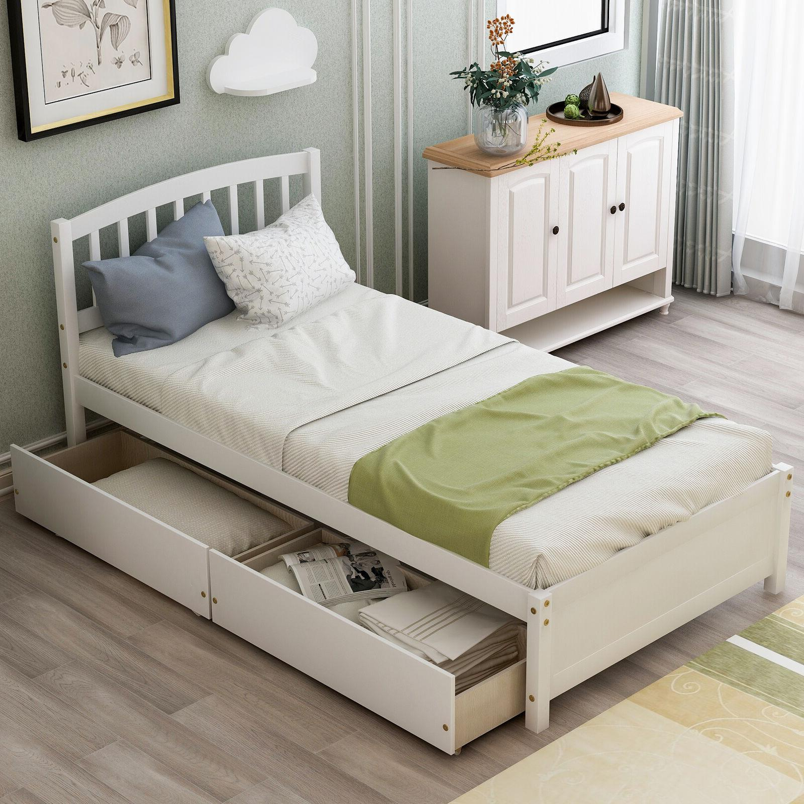 twin size bed frame w trundle matress