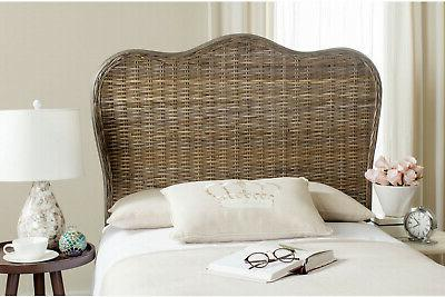 SAFAVIEH Camelback Headboard Twin Size Wicker Rattan Bed Fra