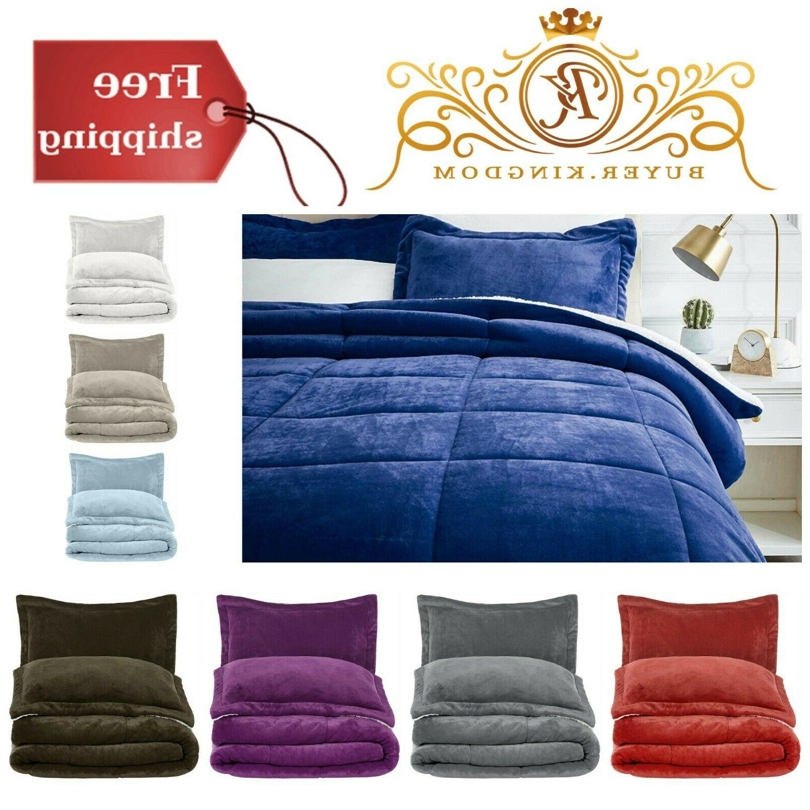 Comforter Bed Set With Pillow Shams Soft Micromink Sherpa Tw