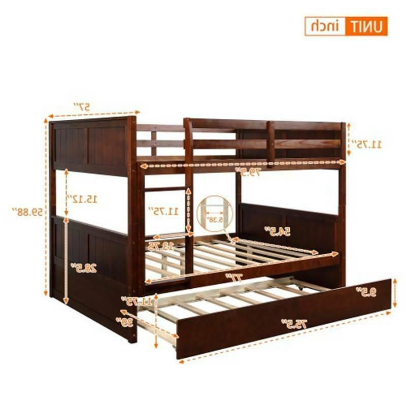Full Over Full Bed Twin Trundle W/Ladder Home