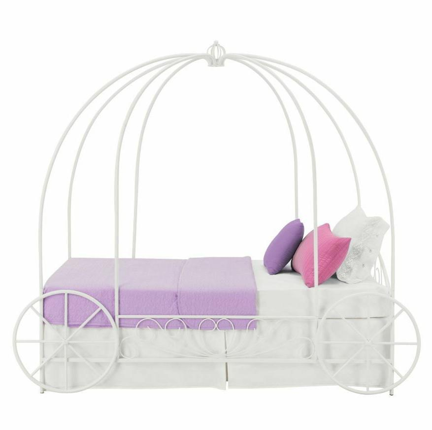 Girls Bed Frame Canopy Carriage Princess Disney White