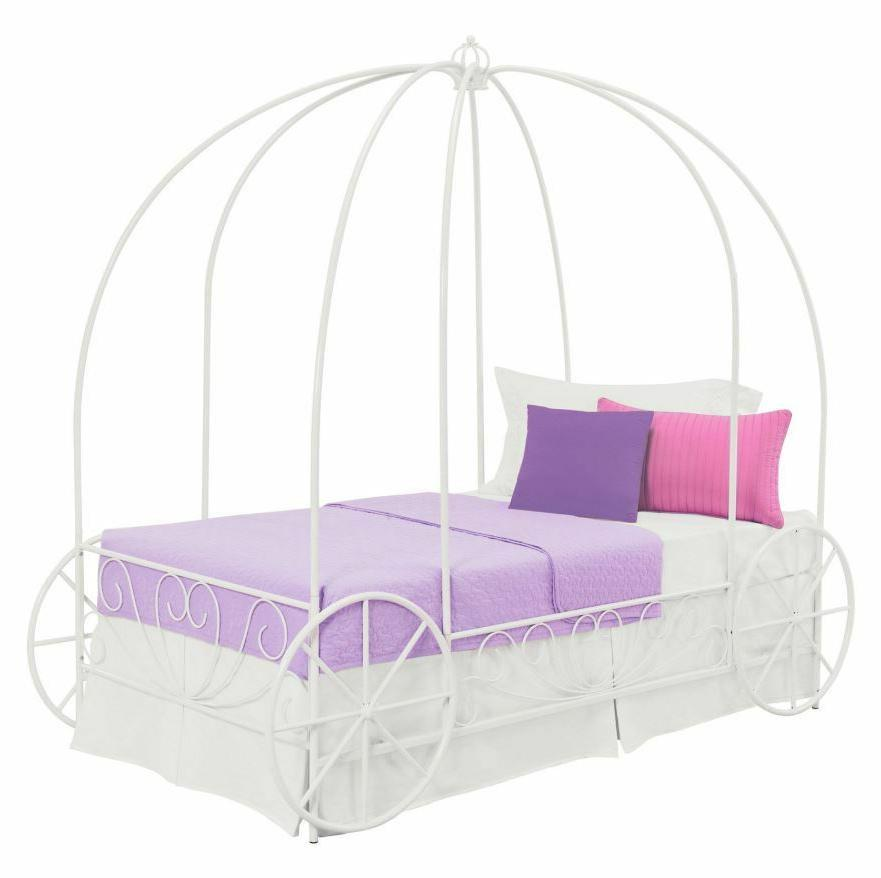 Girls Bed Canopy Carriage Metal Princess White