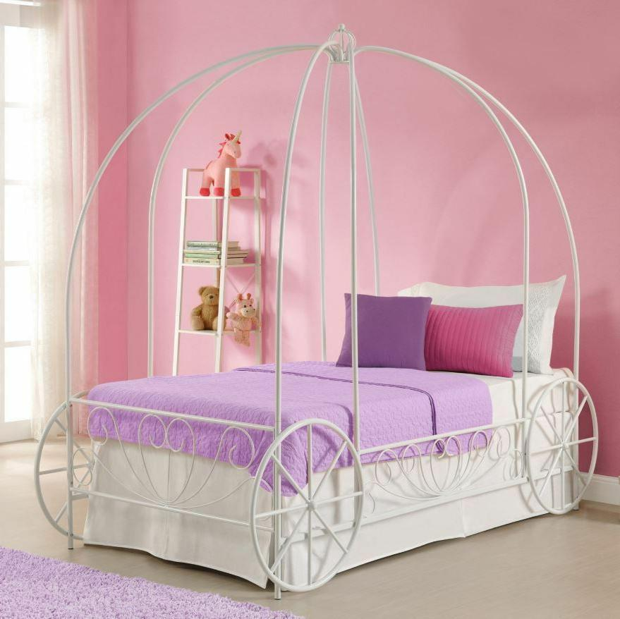 girls twin bed frame canopy carriage metal