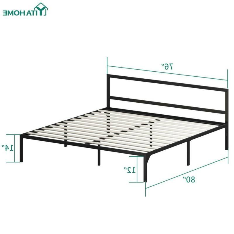 YITAHOME Platform Bed Frame Headboard Foundation Wood Slat