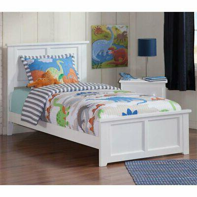 madison twin panel platform bed in white