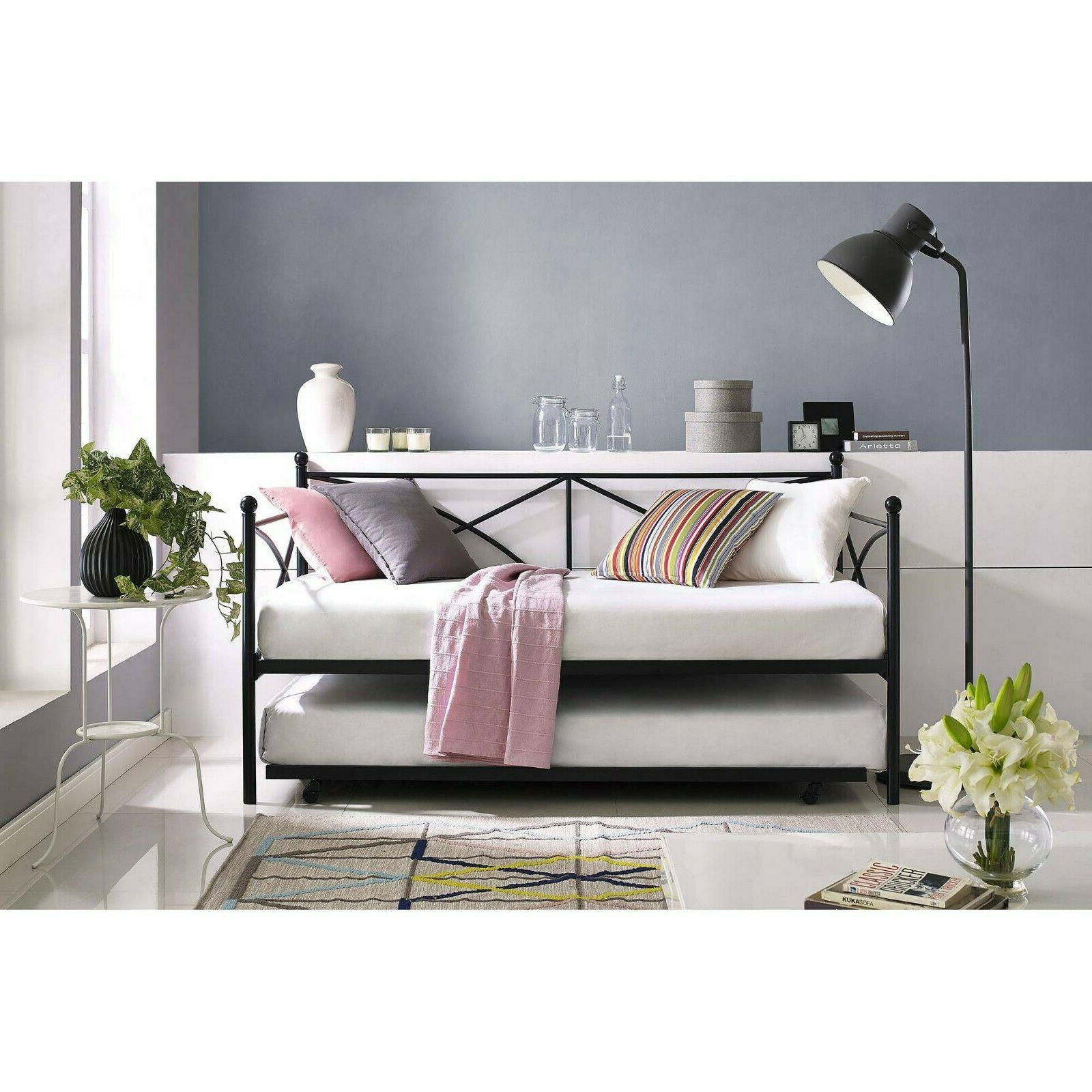 Metal Daybed With Trundle Twin Size Roll Out Day Bed Guest M