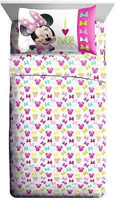 Minnie Bigger Bow Twin Sheet Set Mouse