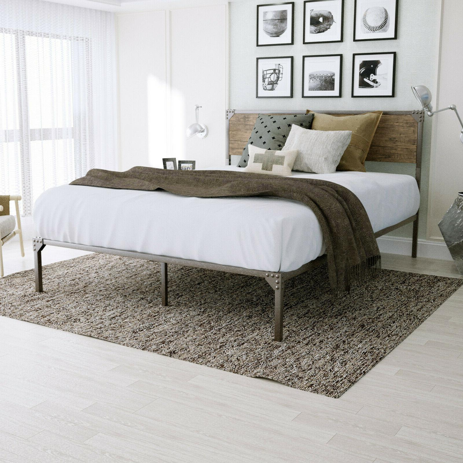 TWIN/FULL/QUEEN Size Metal Platform Bed Frame With Wood Head