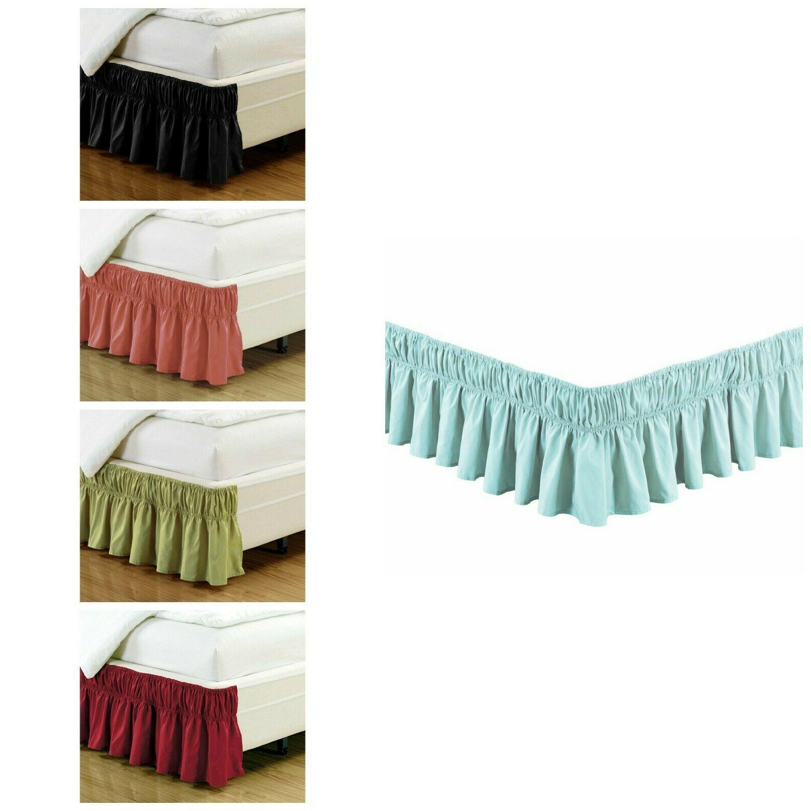 Ruffled Elastic Solid Bed Skirt Silky Soft 14 inch Fall Micr