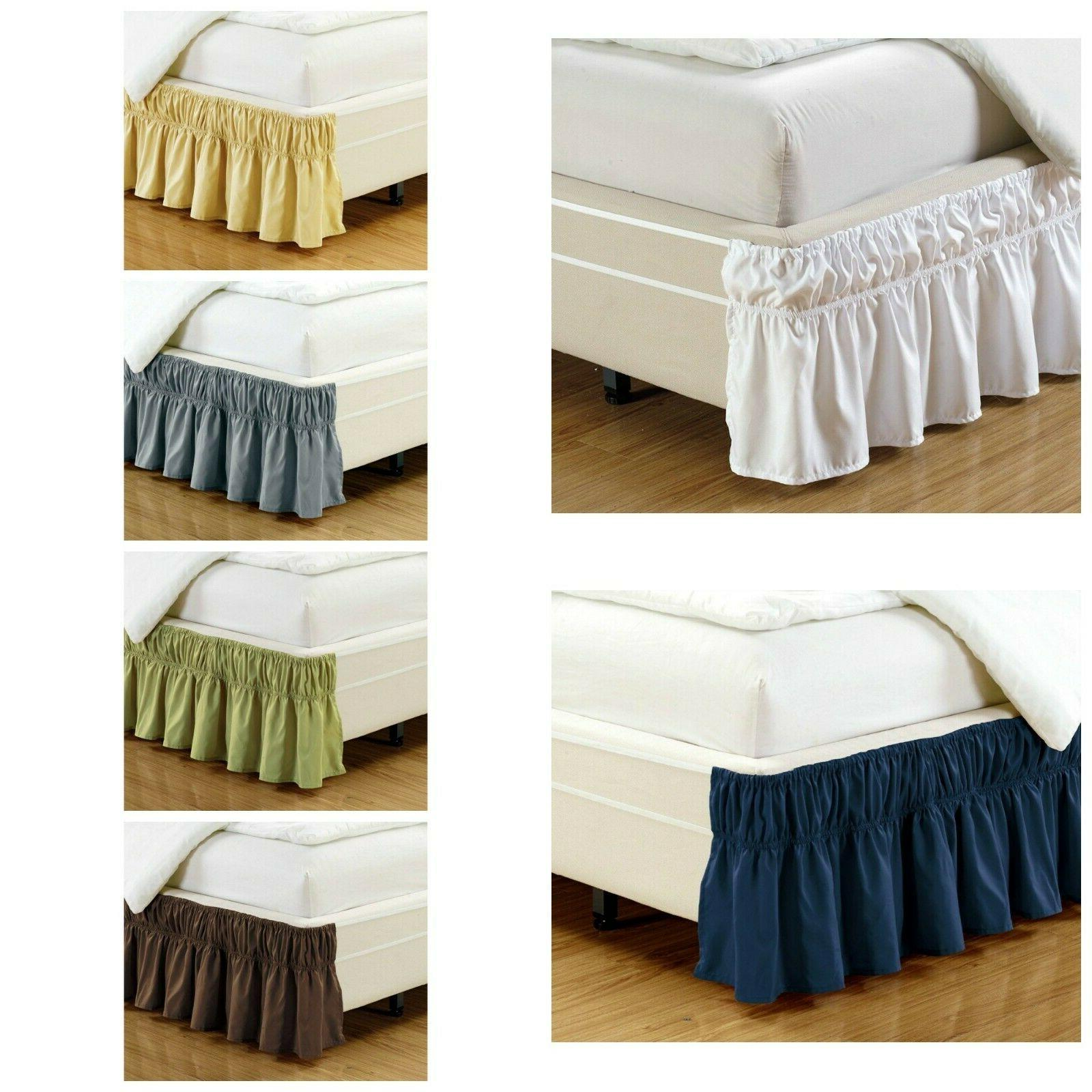 Ruffled Elastic Solid Bed Skirt Wrap Around Thread Count Mic