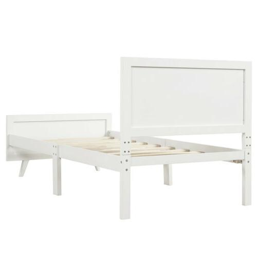 Solid Wood Bed Frame Platform Mattress Foundation Twin White