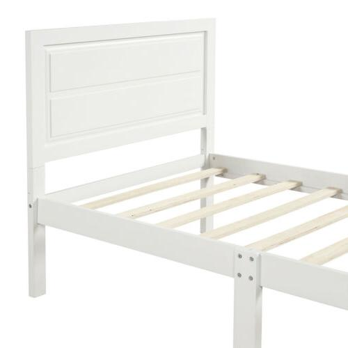 Solid Bed Frame Platform Foundation Twin White