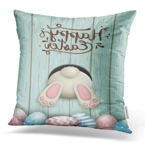 throw pillow covers easter motive white bunny