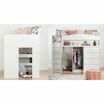 South Storage Loft Bed in White