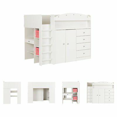 South Tiara Twin Loft Bed with Desk