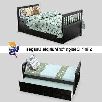 Twin Bed Bed Alternative & Drawers for Espresso