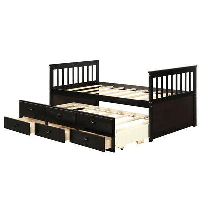 Twin Bed Alternative & Drawers for Espresso