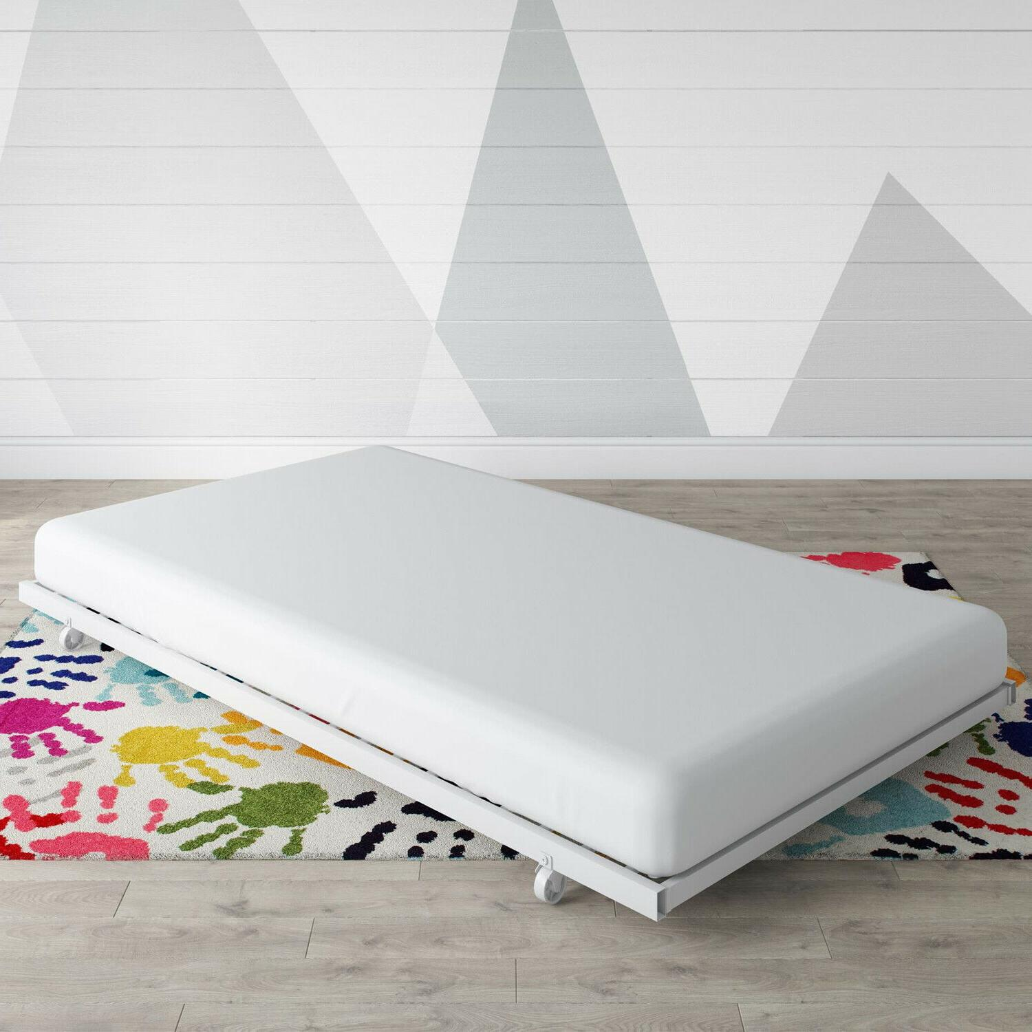 Twin Daybed Trundle Pull Child Sofa Metal White