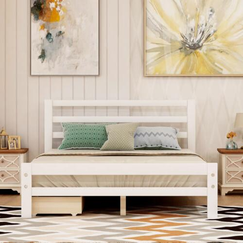 Twin/Full Size w/ Two Drawers Bed Wooden Home