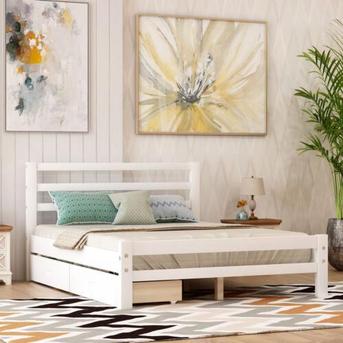twin full size platform bed w two