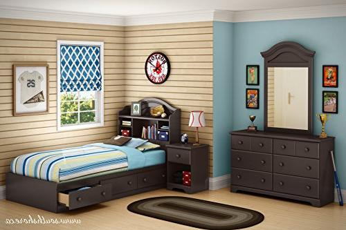 39 in. Bed with Bookcase Headboard in