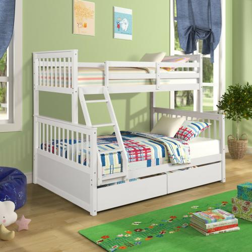 twin over full size solid wood bunk