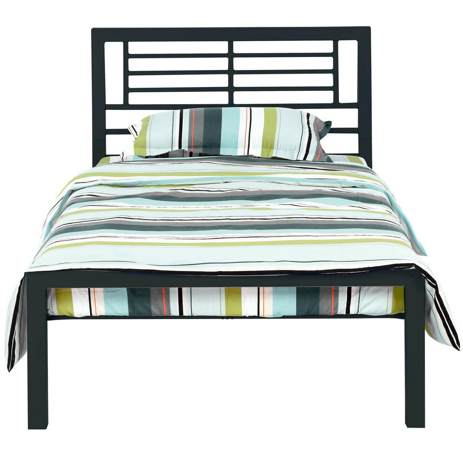 twin size bed by black metal frame