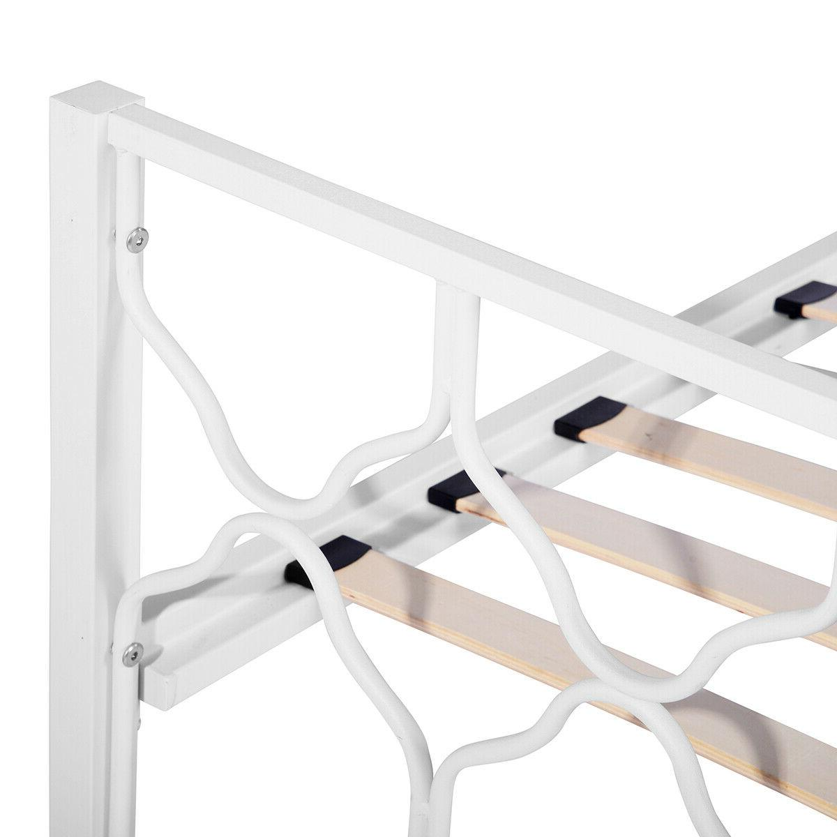 Twin Frame Metal Wood Slat Supported Bed Structure
