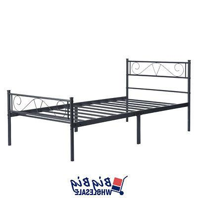 Twin Size Metal Bed Frame Black Mattress with Footboard