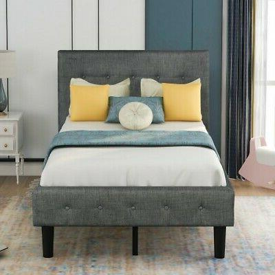 Twin Size Frame w/Tufted Beds Wood Gray