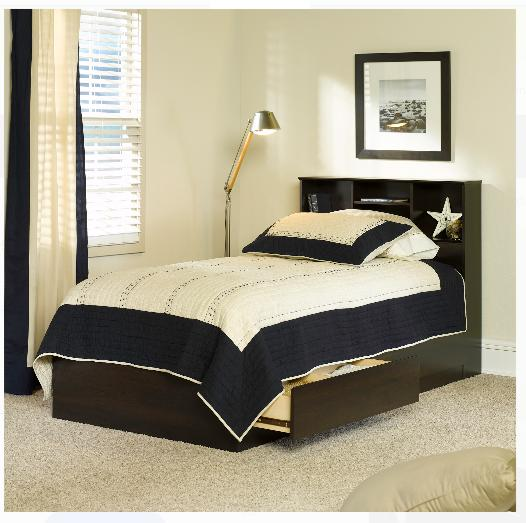 Twin Storage Bed with 2 Drawers Bookcase Headboard Wood Fram