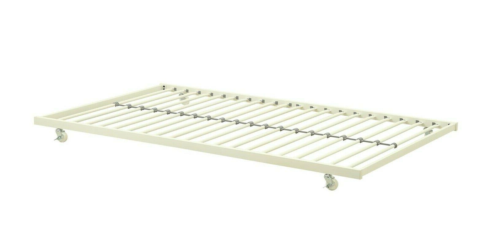 Twin Trundle Metal Bed Frame Rolling Away Pull Out Guest Bed