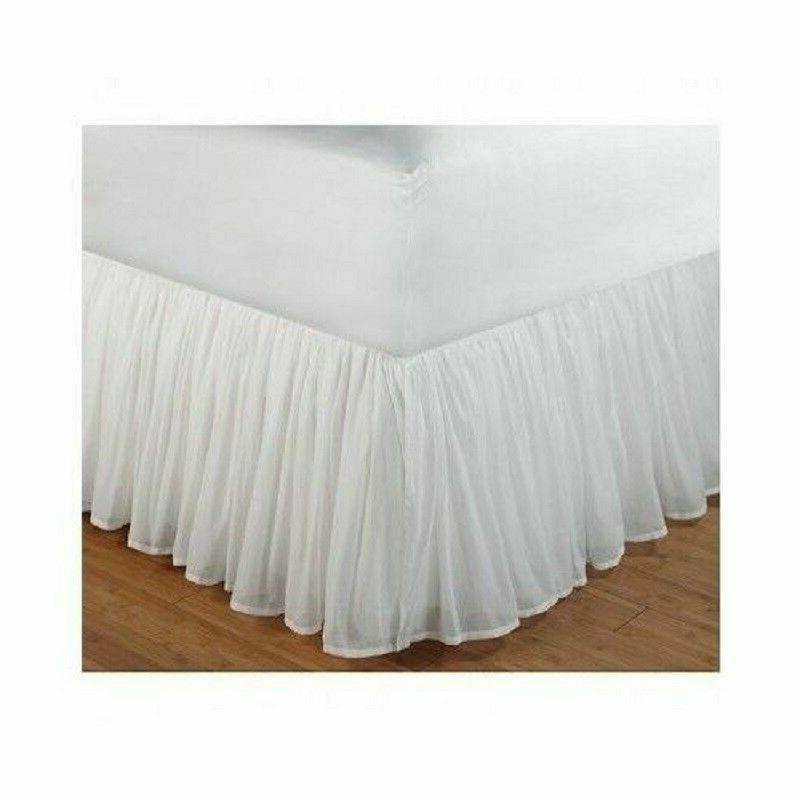 White Bed Skirt Twin Ruffled Sheer Gathered Farm Victorian D
