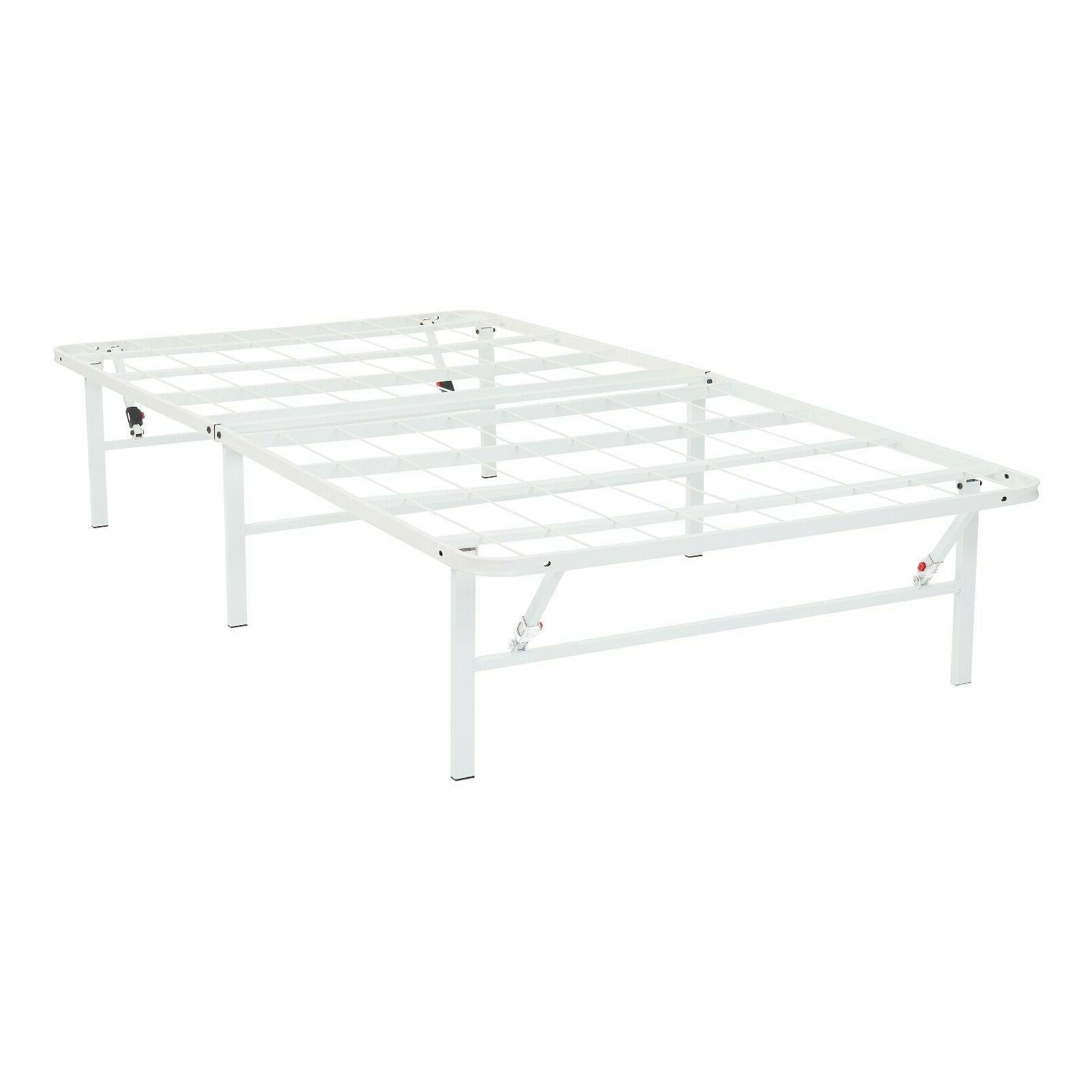 white steel platform twin xl size bed