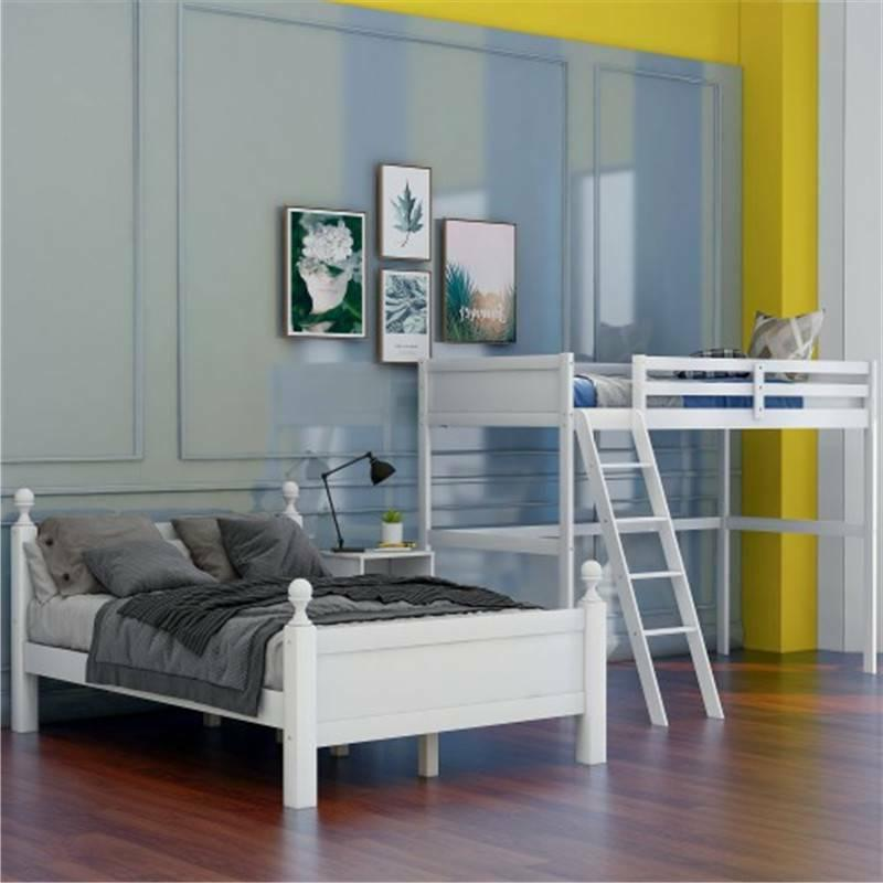 White Twin Over Bunk Bed Wood, Bed W/Cabinet, W/Ladder Safety Rails US
