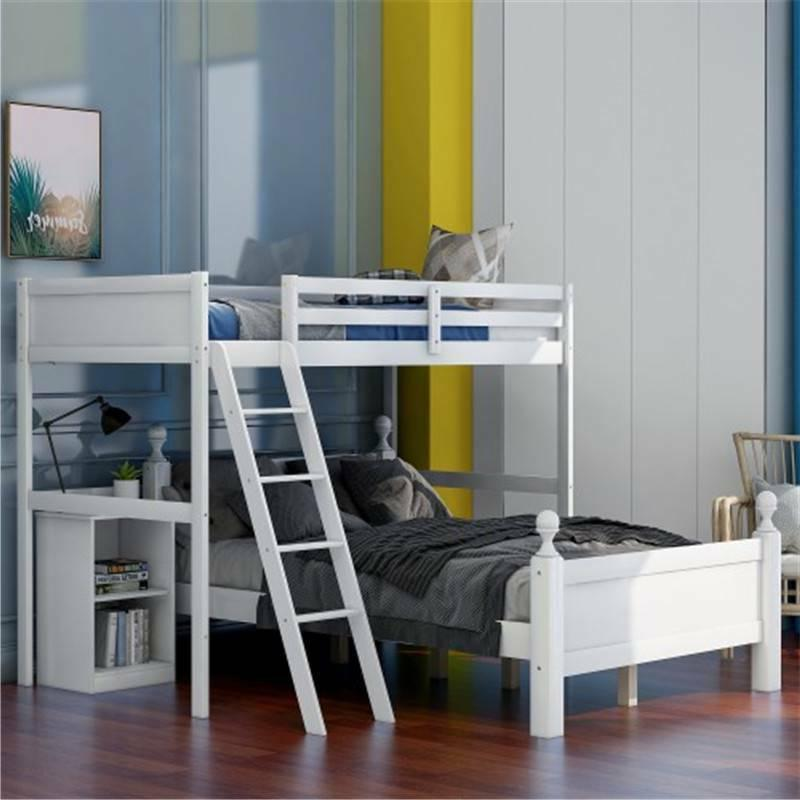 White Over Bunk Bed W/Ladder Safety Rails US