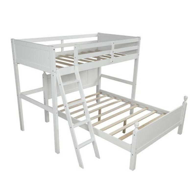 White Twin Over Bunk Bed Wood, Bed