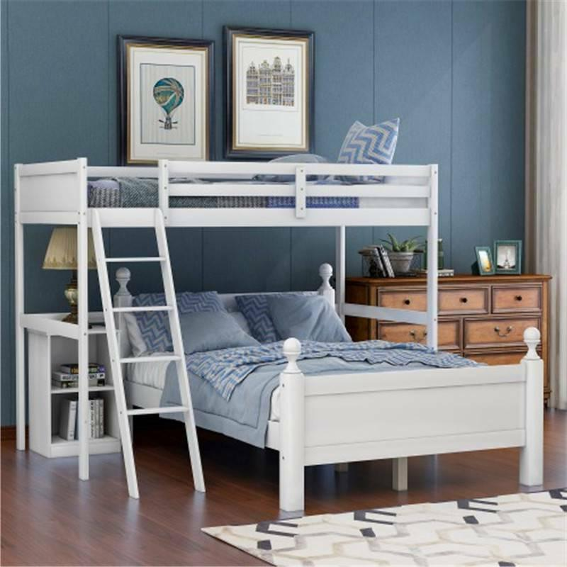 white twin over full bunk bed wood