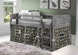 DONCO KIDS 790AAG_750C-TC Louver Low Loft Bed with Camo Tent