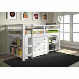 Donco Kids Low Study Loft Desk Twin Bed with Chest and Grey