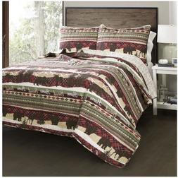 Lush Decor Holiday Lodge 3 Piece Quilt Set Fashion Bedding C