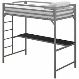 DHP Mabel Twin Metal Loft Bed with Desk in Silver