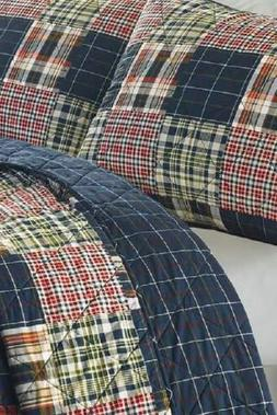 madrona navy red patchwork plaid twin quilt
