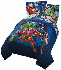 Jay Franco Marvel Avengers Blue Circle Bed Set, Twin