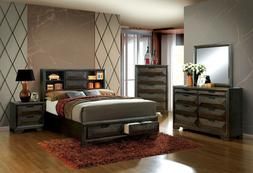 Master Bedroom 4pc Set Solid Wood Storage Bed w Matching Dre