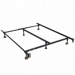 Metal Bed Frame Adjustable Queen Full Twin Size W/ Center Su