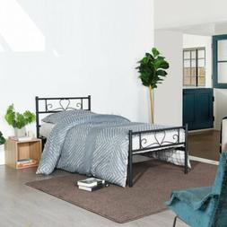 metal bed frame twin size with headboard