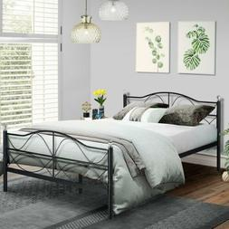 Metal Platform Bed Slats Support No Box Spring Needed with S