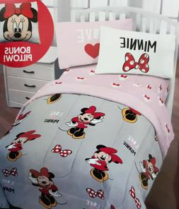 MINNIE MOUSE 5 pc Twin Bed in a Bag Comforter, Sheet Set & P